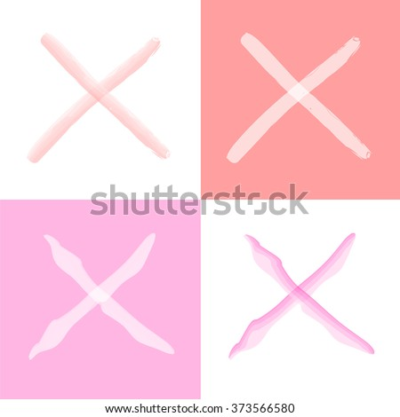 Pink false check mark set Vector EPS10, Great for any use - stock vector