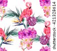 Pink flamingo, tropical flowers, palm leaves, hibiscus, bird of paradise flower, peonies. Beautiful seamless vector floral pattern background - stock vector