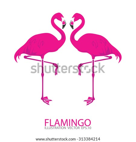 Pink flamingo.Vector illustration - stock vector