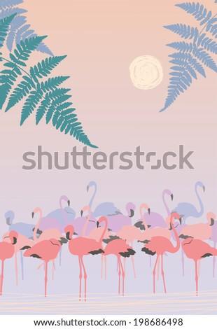 Pink Flamingos at Dawn - stock vector