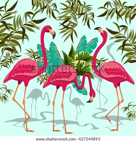 Pink Flamingos Exotic Birds. Decorative Group of Three Flamingos and Exotic Plants