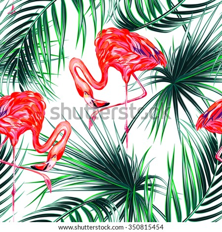 Pink flamingos, exotic birds, tropical palm leaves seamless vector floral jungle pattern background - stock vector