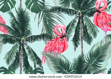 Pink flamingos, exotic birds, tropical palm leaves, trees, jungle leaves seamless vector floral pattern background - stock vector