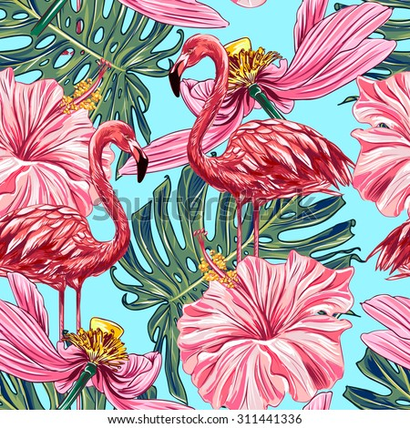Pink Flamingos Tropical Flowers Jungle Leaves Stock Vector