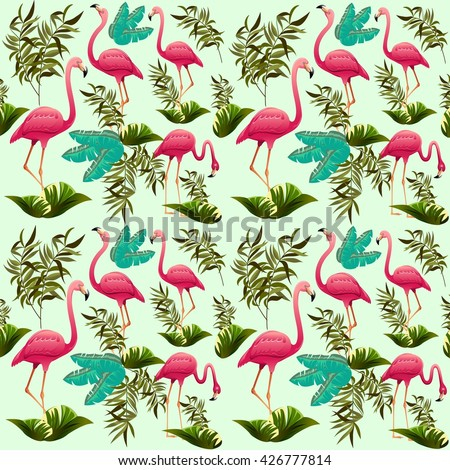 Pink Flamingos Vector Pattern. Ornamental Decorative Fabric Motive. Exotic Bird.