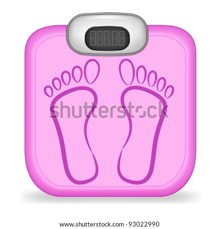 Pink floor electronic scales vector