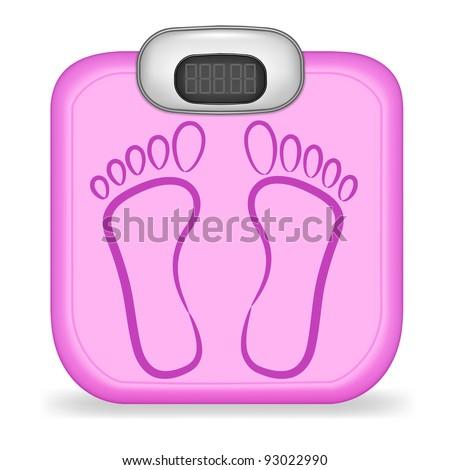 Pink floor electronic scales vector - stock vector