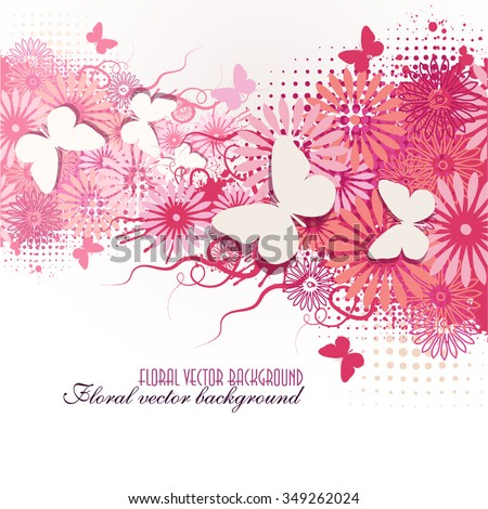 pink floral abstract background with butterflies. Vector - stock vector