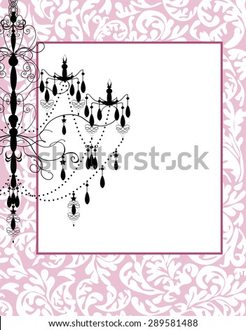 pink floral background with luxury chandelier stock vector background pink chandelier