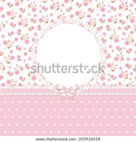 Pink floral romantic background - stock vector