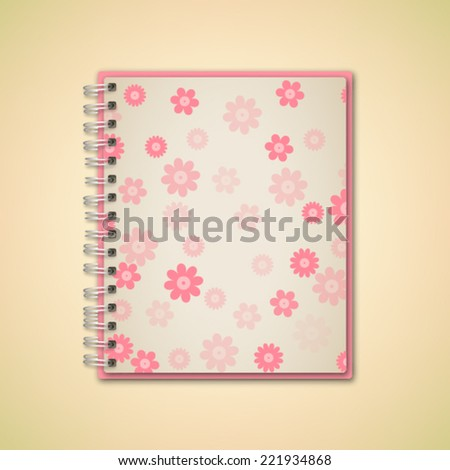 Pink Flower Pattern Realistic Notebook Vector  - stock vector