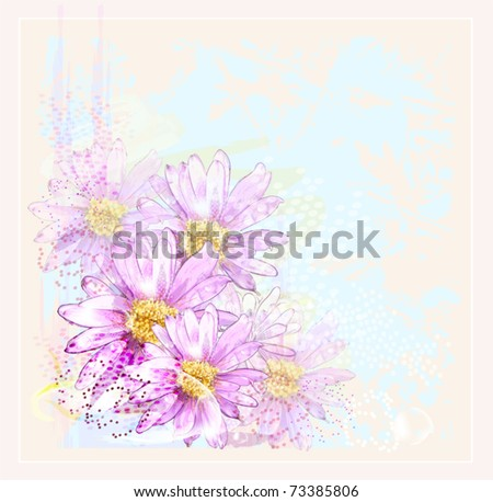pink flowers with dew drops - stock vector
