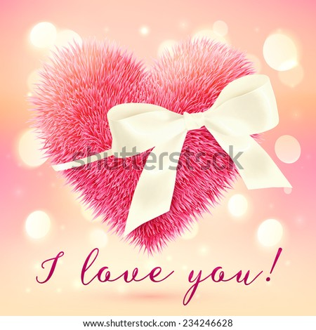 Pink fluffy heart with white bow, vector greeting card template - stock vector