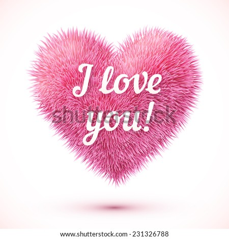 Pink fluffy vector heart with I love you sign - stock vector