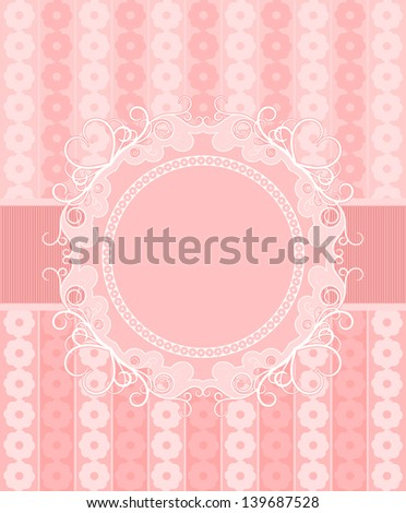 Pink frame with a ribbon on a gentle floral background. Space for your text or photo. - stock vector