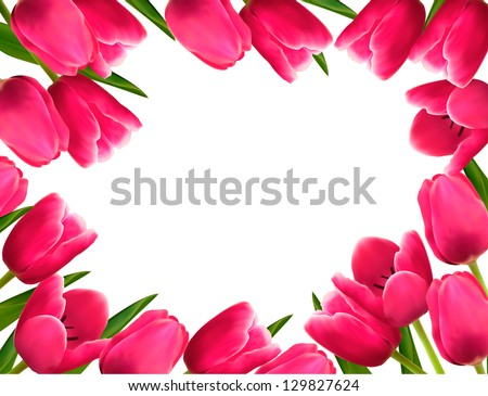 Pink fresh spring flowers background. Vector illustration - stock vector