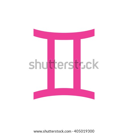 Pink Gemini Zodiac Sign Astrology Symbol Stock Vector Royalty Free