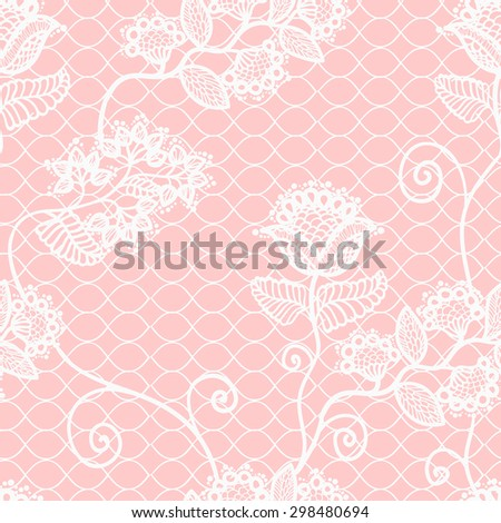 pink gentle seamless lacy pattern - stock vector