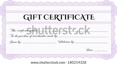Pink gift certificate or voucher