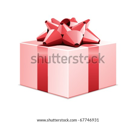 Pink gift present box with red bow vector illustration