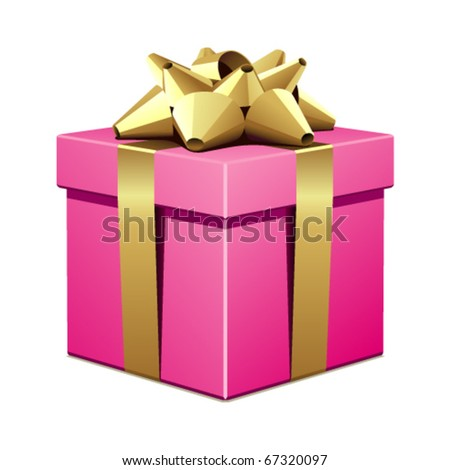 Pink gift with gold bow vector illustration
