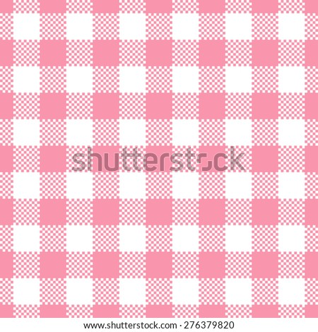 Pink Gingham Tablecloth Seamless Pattern Background