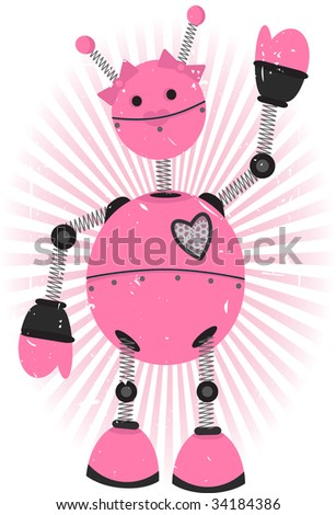 Pink Girl Robot with pink rays and grungy background