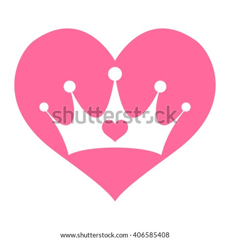 Pink Girly Princess Royalty Crown with Heart Jewels and Pink Heart Shape vector logo