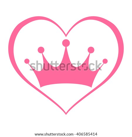 Pink Girly Princess Royalty Crown With Heart Outline vector graphic