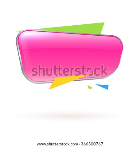 Pink glass banner for your design. Vector.