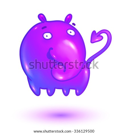 Pink glossy jelly funny vector monster character