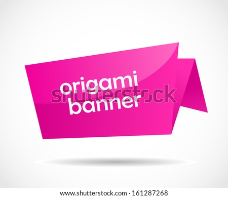 Pink glossy origami blank bubble speech vector