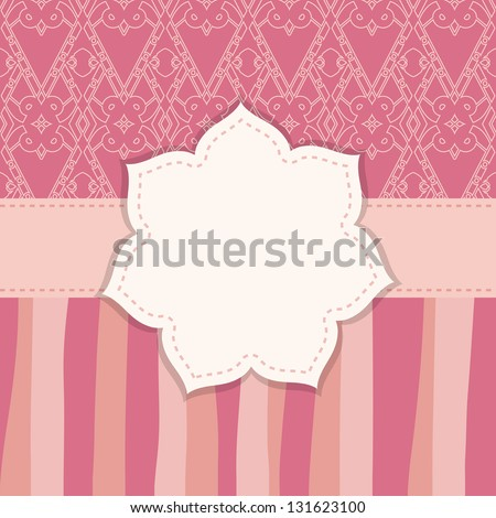 pink greeting card with a flower frame - stock vector
