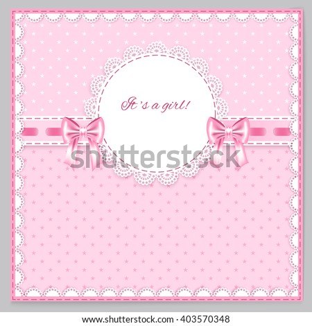 pink greeting card with two bows, lace, place for your text on pink  background with little flowers, vector illustration
