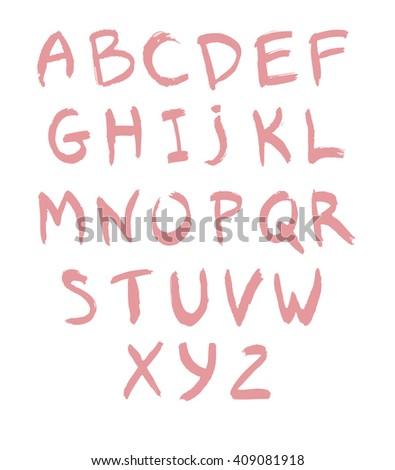 pink hand drawn alphabet baby abc letters on white lipstick calligraphy