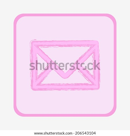 Pink hand-drawn envelope icon - stock vector