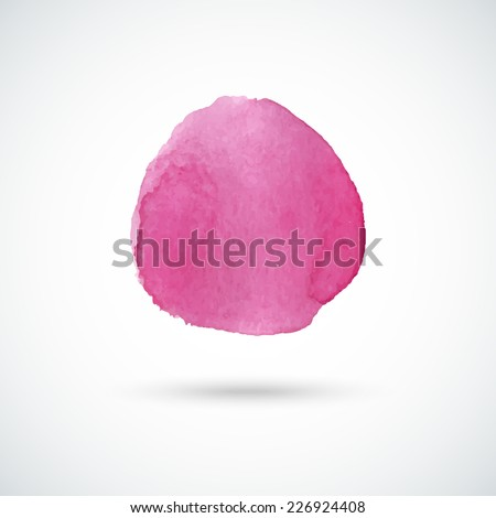 Pink hand drawn watercolor circle. Vector design element. - stock vector