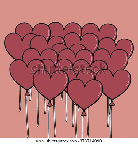 Pink Heart Balloon ,vector background