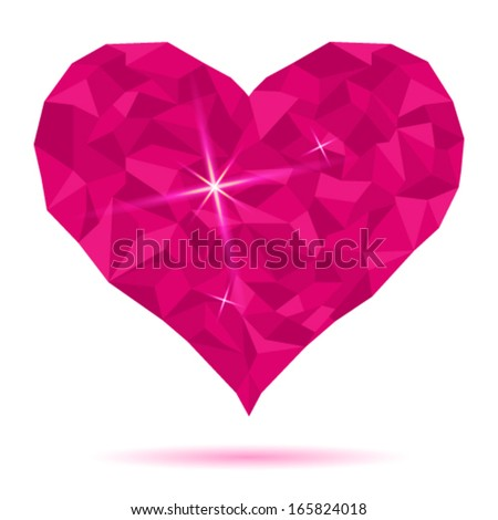 Pink heart icon of crystals