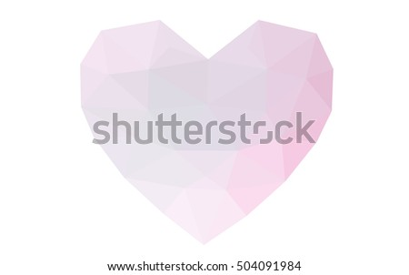 Pink heart isolated on white background. Geometric rumpled triangular low poly origami style gradient graphic illustration. Vector polygonal design for your business.on white background.