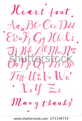 Pink Heart, Love Alphabet from my big font collection. Hand drawn decorative vintage vector ABC letters. Vector alphabet. Valentine's ABC - stock vector