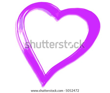 Pink Heart on white (vector) - stock vector