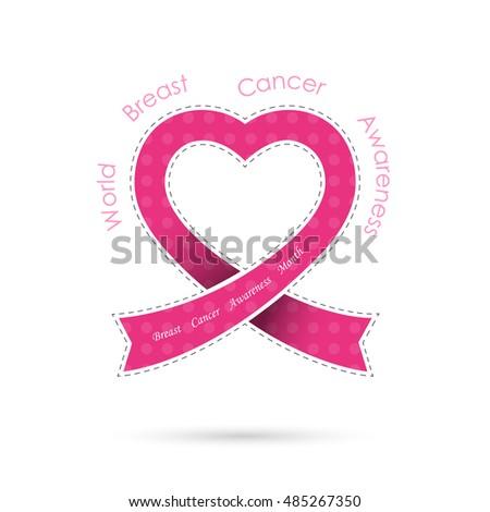 Pink Heart Ribon Signbreast Cancer Awareness Stock Vector Hd