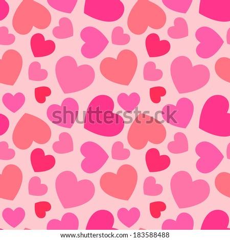 pink heart seamless pattern - stock vector