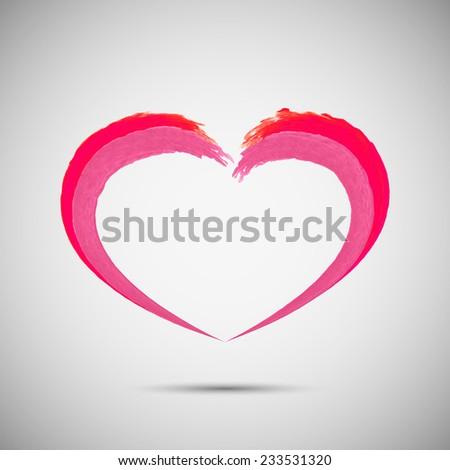 Pink heart vector design logo template.  Emblem symbol. - stock vector