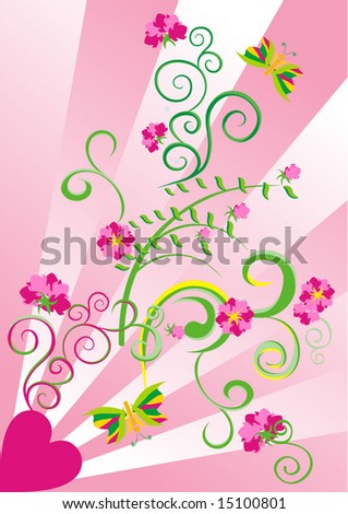 pink heart vector ornate background
