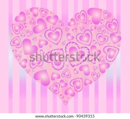 pink hearts - stock vector