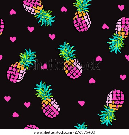 Pink hearts and pineapples ~ seamless background - stock vector