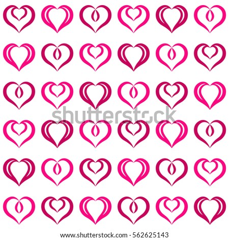 Pink hearts seamless pattern. Endless texture with hearts geometric ornament. Set of festive elements. Valentine's day and Woman's day background.
