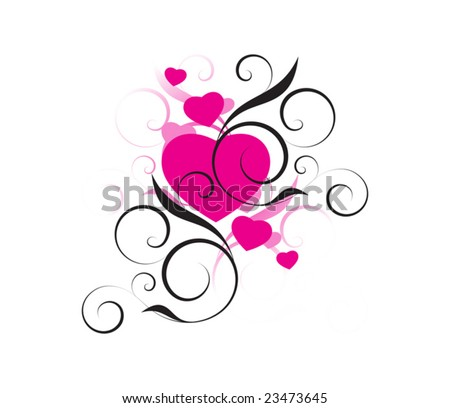 pink hearts with decorative elements on a white background - stock vector